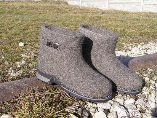 """Обувь ручной работы. Ярмарка Мастеров - ручная работа. Купить Валенки-сапожки """"Дымка-2"""". Handmade. Серый, валенки для улицы"""