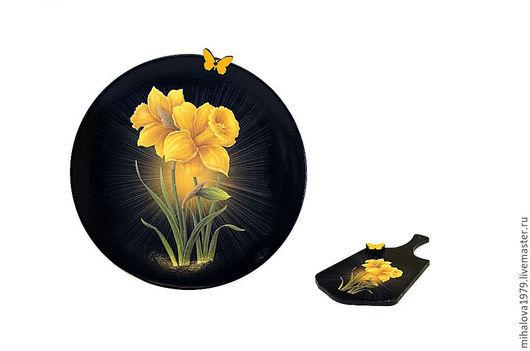 """Магниты ручной работы. Ярмарка Мастеров - ручная работа. Купить Магнит """"Нарцисс"""". Handmade. Черный, цветы, нарцисс, магнит на холодильник"""