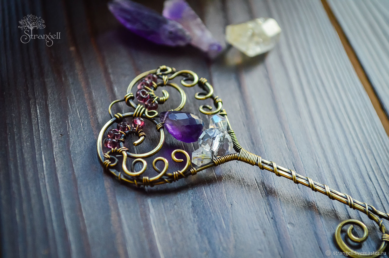 Pendants handmade. Livemaster - handmade. Buy Pendant Key Heart Brass Amethyst - brooch labradorite - romantic.Gift girl, beads