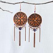 Украшения manualidades. Livemaster - hecho a mano Pendientes largos de amatista de cobre pendientes Boho Redondos con borlas de Cobre. Handmade.