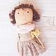 авторская кукла, кукла ручной работы, кофейная кукла, купить куклу в подарок, интерьерная кукла, нежная кукла,сакура
