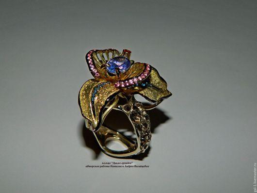 """Кольца ручной работы. Ярмарка Мастеров - ручная работа. Купить кольцо """"Орхидея"""" из золота 585 пробы. Handmade. Фиолетовый"""