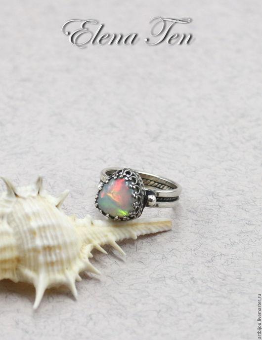 """Кольца ручной работы. Ярмарка Мастеров - ручная работа. Купить Серебряное кольцо """"Огонь чувств"""" серебро 925, эфиопский опал. Handmade."""