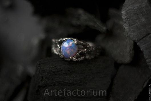 Кольца ручной работы. Ярмарка Мастеров - ручная работа. Купить Серебряное кольцо с опалом № 219. Handmade. Комбинированный, зеленый