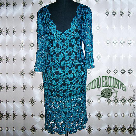 Платья ручной работы. Ярмарка Мастеров - ручная работа. Купить Шелковое платье. Handmade. Морская волна, шелк 100%