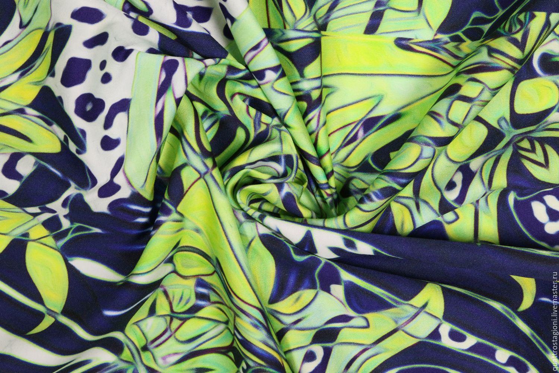 Шитье ручной работы. Ярмарка Мастеров - ручная работа. Купить Тонкий хлопок Roberto Cavalli. Handmade. Зеленый, итальянские ткани