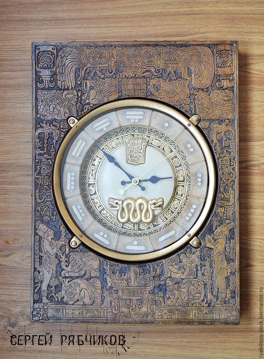 """Часы для дома ручной работы. Ярмарка Мастеров - ручная работа. Купить Часы настенные декоративные """"Цивилизация Майя"""". Handmade. Коричневый"""