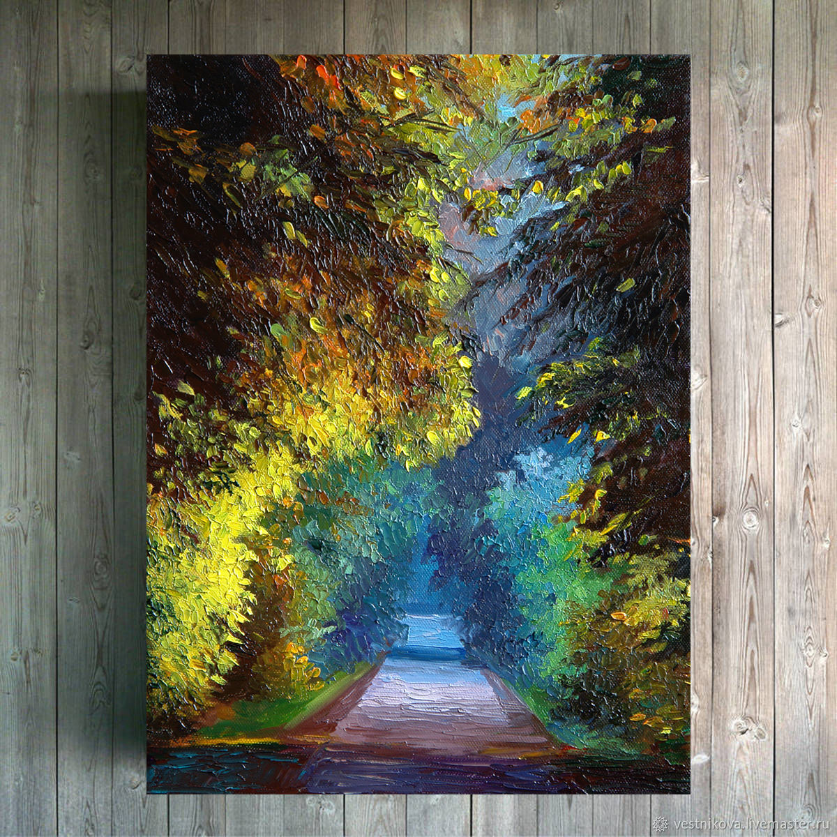 Painting 'the Road through the forest' oil on canvas 30h40, Pictures, Moscow,  Фото №1