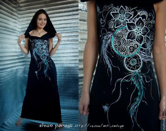 Платья ручной работы. Ярмарка Мастеров - ручная работа. Купить Черное платье с серебряной ловушкой. Handmade. Черный, платье в пол
