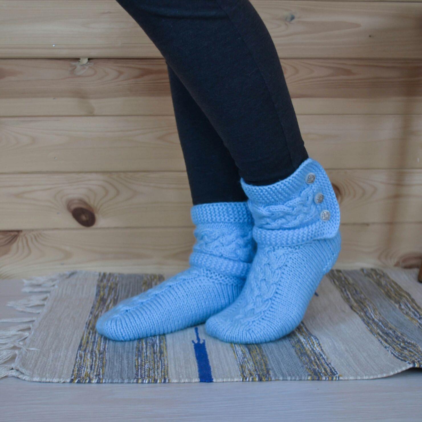 "Вязаные Носки с манжетами "" Бабье лето"" (голубой цвет), Носки, Шатура,  Фото №1"