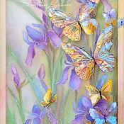 Картины и панно ручной работы. Ярмарка Мастеров - ручная работа Весна... бабочки...ирисы -картина на шелке объемная, трехслойная. Handmade.