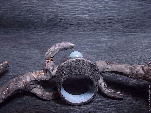 Кольца ручной работы. Ярмарка Мастеров - ручная работа. Купить Кольцо с натуральным амазонитом из полимерной глины. Handmade. Голубой, бохо
