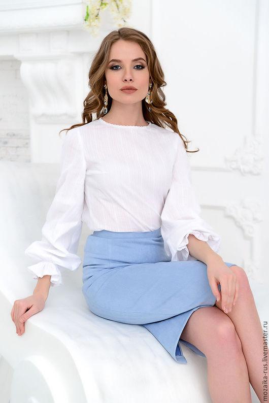 Блузки ручной работы. Ярмарка Мастеров - ручная работа. Купить Блуза из хлопка с пышными рукавами. Handmade. Белый, бохо, мережка
