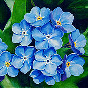 Картины и панно handmade. Livemaster - original item Picture Beautiful forget-me-nots, oil, hardboard. Handmade.