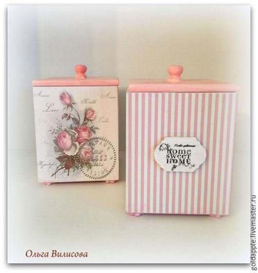 """Кухня ручной работы. Ярмарка Мастеров - ручная работа. Купить Кухонные коробки в  стиле Шебби шик """"Розовые розы"""". Handmade."""