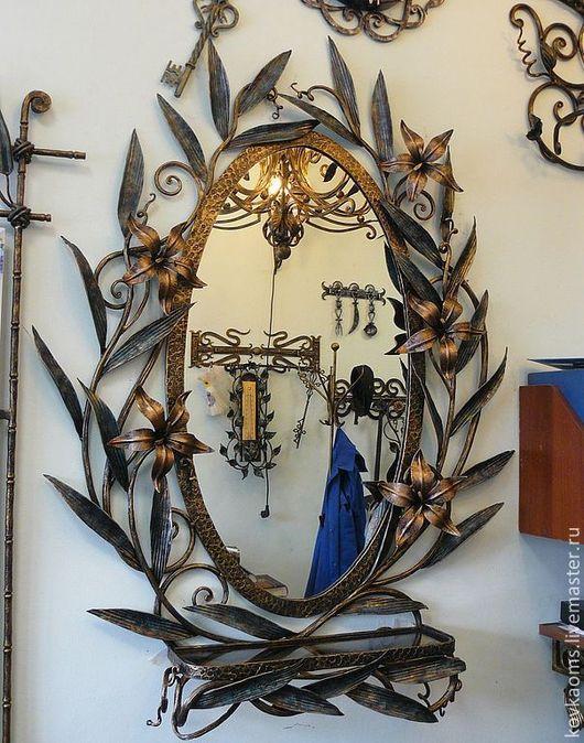 """Зеркала ручной работы. Ярмарка Мастеров - ручная работа. Купить Зеркало с полочкой """"Озеро с лилиями"""". Handmade. Зеркало, Кованое зеркало"""