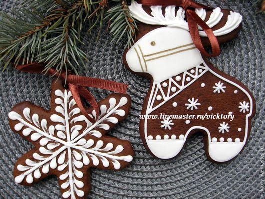 Пряники новогодние `Расписные пряники на елку` Новый год 2016. Пряник северный олень, пряник снежинка. Пряники с ленточками для подвешивания к новогодней елочке.