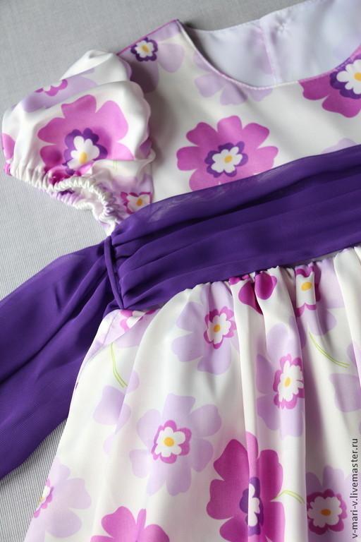 Одежда для девочек, ручной работы. Ярмарка Мастеров - ручная работа. Купить Платье для девочки Сиреневый цветок. Handmade. Сиреневый, в цветочек