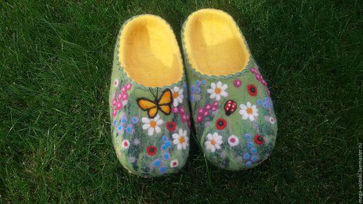 Обувь ручной работы. Ярмарка Мастеров - ручная работа. Купить Валяные тапочки шерсть 100%. Handmade. Комбинированный, лето