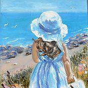 """Картины и панно ручной работы. Ярмарка Мастеров - ручная работа Картина маслом """"Юная Ассоль"""" 40х60, морской стиль, море. Handmade."""