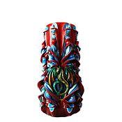 Резная свеча - бордовый синий зеленый - Огненный дракон