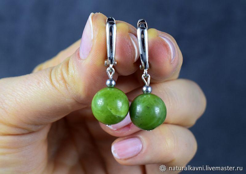 Earrings made of natural Baikal jade, Earrings, Moscow,  Фото №1