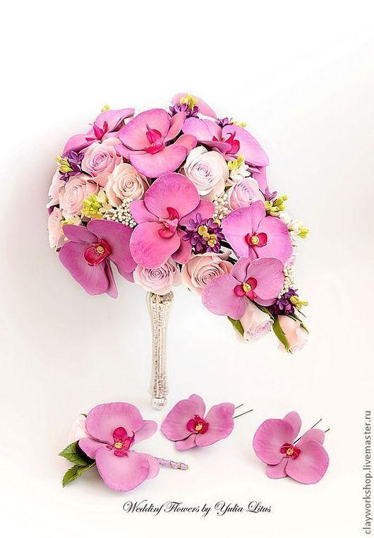 Свадебные цветы ручной работы. Ярмарка Мастеров - ручная работа. Купить Букет невесты с орхидеями фаленопсис. Handmade. Букет невесты