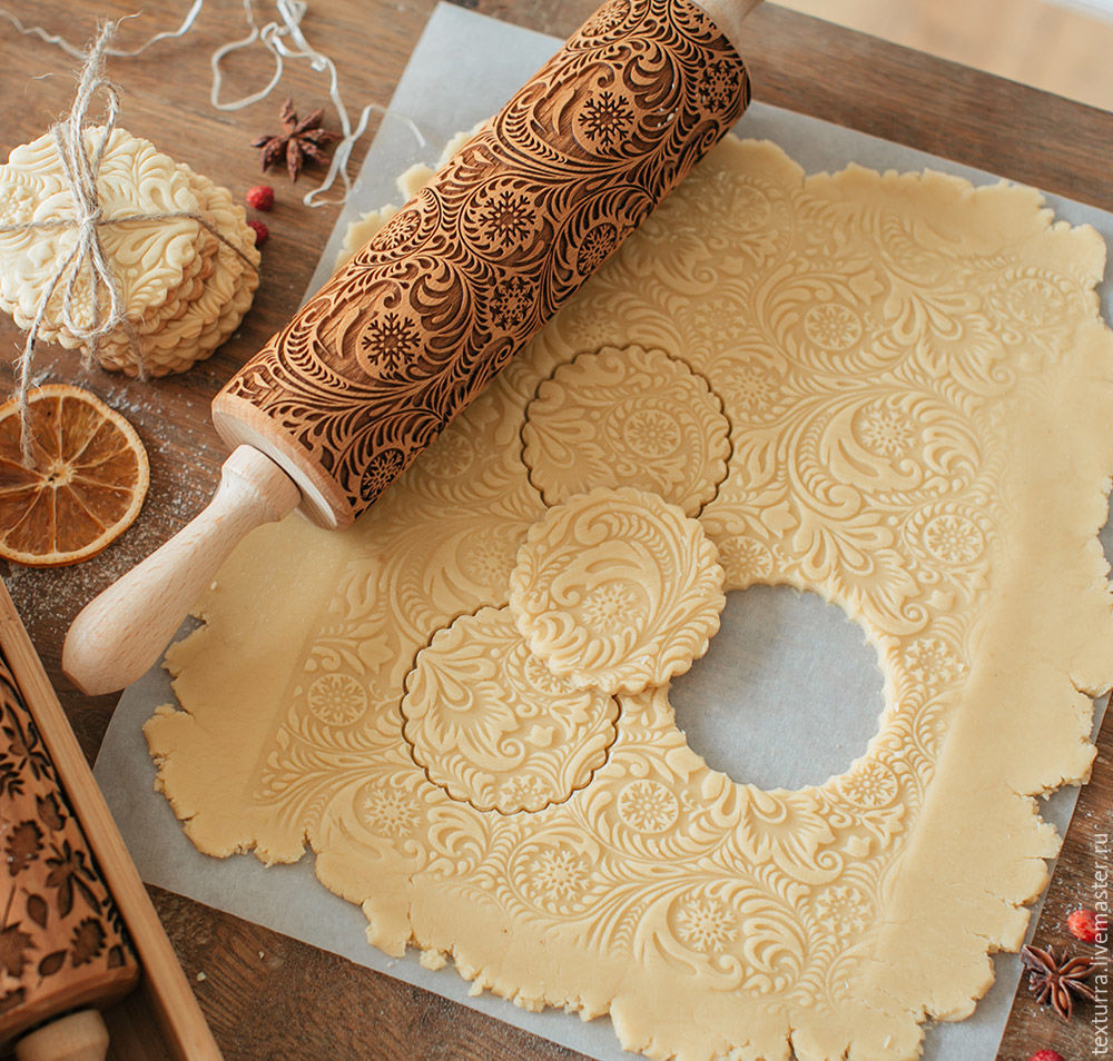 Frosty pattern - laser engraved rolling pin by Texturra