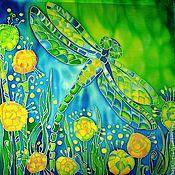 """Картины и панно ручной работы. Ярмарка Мастеров - ручная работа Панно батик """"Июньская стрекоза"""". Handmade."""