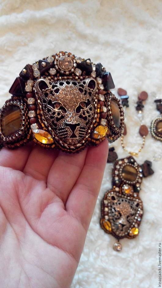 Комплект`Африка` с тигровым глазом и обсидианами.