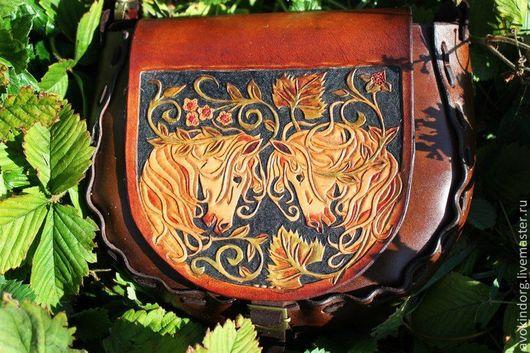 Женские сумки ручной работы. Ярмарка Мастеров - ручная работа. Купить Кожаная сумочка с лошадками. Handmade. Коричневый, Осенние цвета