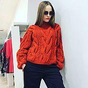Одежда ручной работы. Ярмарка Мастеров - ручная работа Коралловый женский свитер с цепями. Handmade.