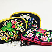 Сумки и аксессуары handmade. Livemaster - original item Cosmetic bag with embroidery Denim purse Russian style Khokhloma. Handmade.