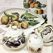 """Посуда handmade. Livemaster - original item Роспись фарфора Чайный сервиз """"Сочные фрукты. Handmade."""