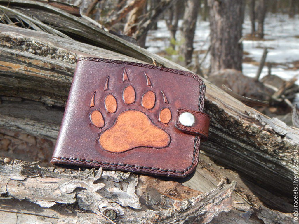 Leather purse embossed Bear claw, Wallets, Ulyanovsk,  Фото №1