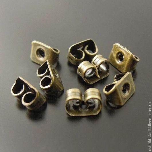 Для украшений ручной работы. Ярмарка Мастеров - ручная работа. Купить 10 пар, заглушки для серег бронза. Handmade. Золотой
