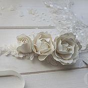 Свадебный салон ручной работы. Ярмарка Мастеров - ручная работа Повязка с розами на шелковой ленте. Handmade.