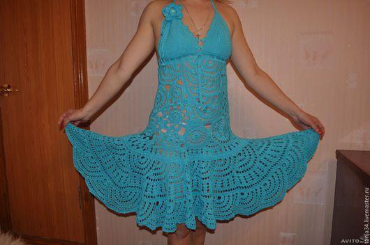 Платья ручной работы. Ярмарка Мастеров - ручная работа. Купить Платье вязаное крючком. Handmade. Бирюзовый, голубой цвет, однотонный