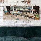 Картины и панно handmade. Livemaster - original item Painting on canvas ORIGINALCOFFE (turquoise, red, gray, cafe). Handmade.