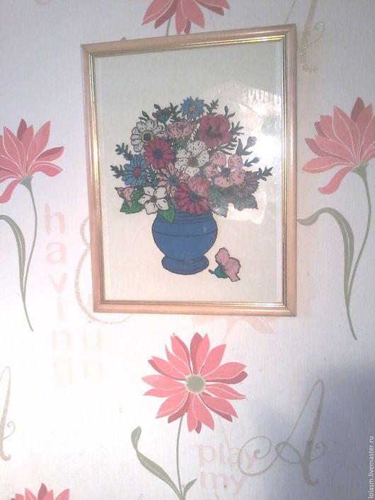 Картины цветов ручной работы. Ярмарка Мастеров - ручная работа. Купить Картина из пластилина Букет в вазе. Handmade. Комбинированный, тушь