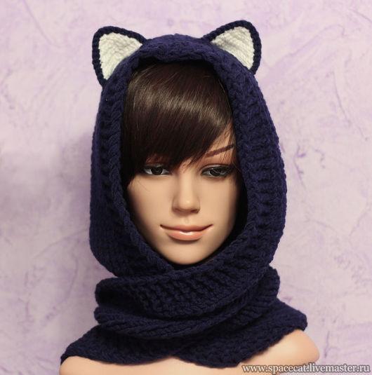 капюшон, капюшон-шарф, шарф, шапка с ушками, шапка-кошка, капюшон-трансформер, шапка-трансформер, капюшон с ушками, капюшон вязаный