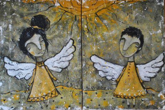 Фантазийные сюжеты ручной работы. Ярмарка Мастеров - ручная работа. Купить одно Солнце на двоих (репродукция). Handmade. Желтый, оранжевый