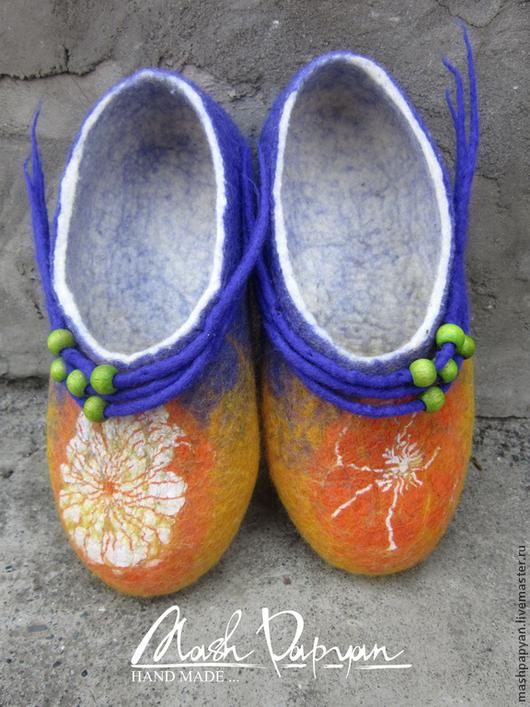 """Обувь ручной работы. Ярмарка Мастеров - ручная работа. Купить Валяные тапочки """" Апельсинка """". Handmade. Валяные тапочки"""