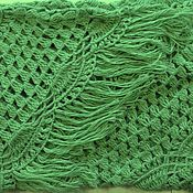 Аксессуары handmade. Livemaster - original item Shawl knitted Eles 240x150x150 light green crochet fringe #046. Handmade.