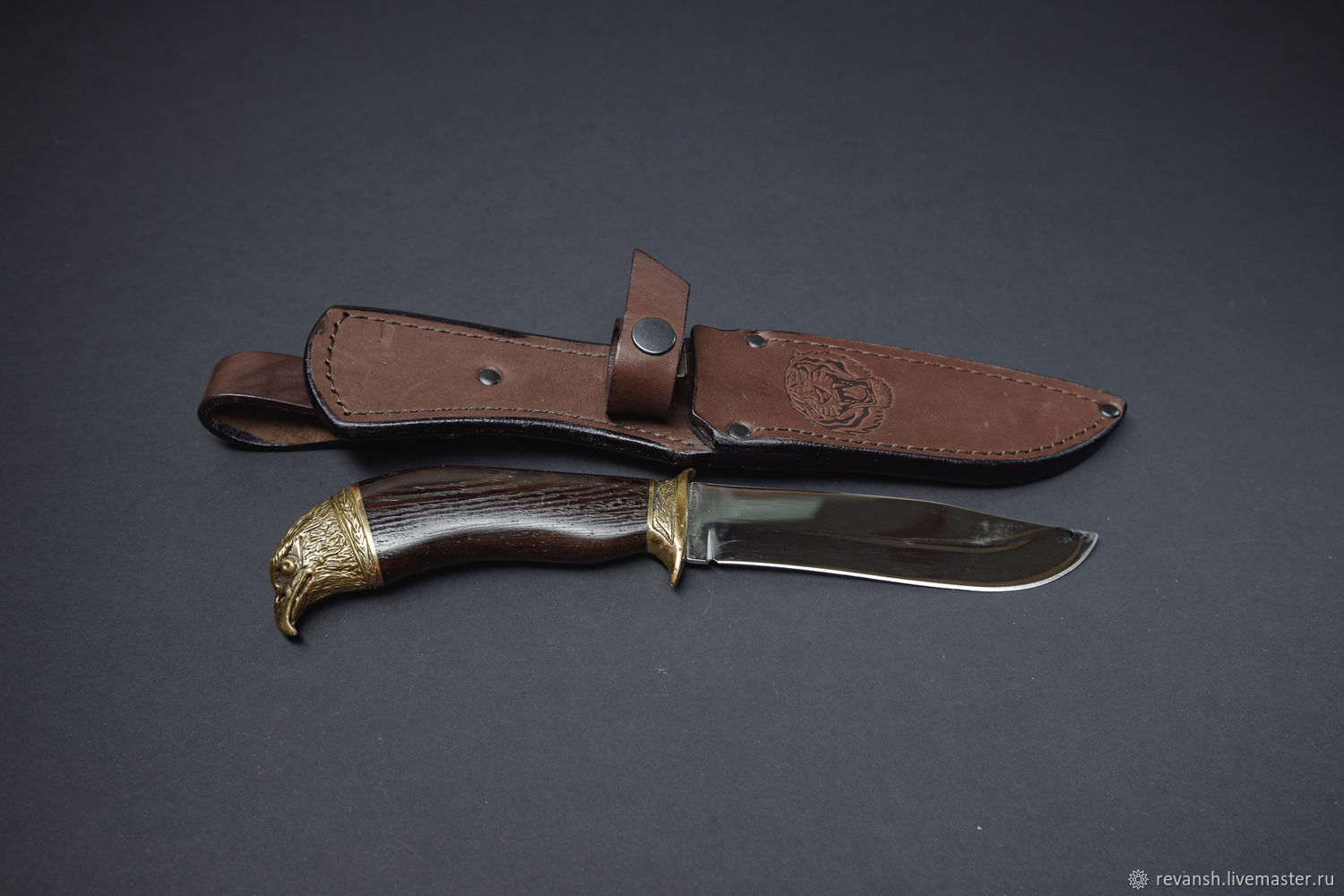 Knife 'eagle' with a stop, in a leather case with a suspension art. .65h13, Gifts for hunters and fishers, Vacha,  Фото №1