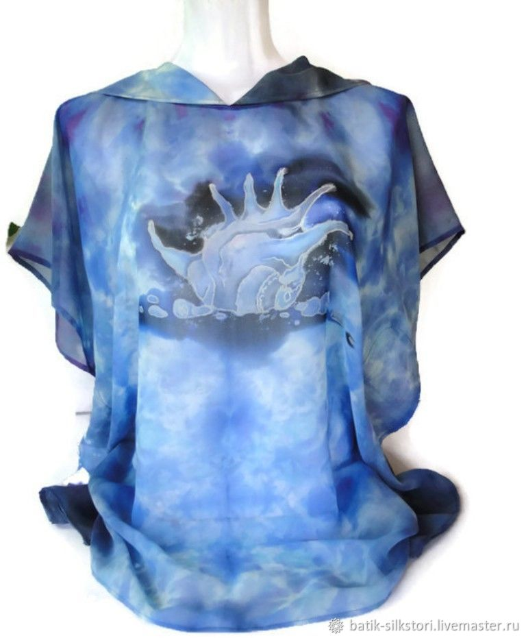 Batik Tunic with hood Shell, Tunics, Moscow,  Фото №1