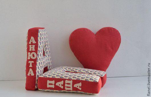 Текстиль, ковры ручной работы. Ярмарка Мастеров - ручная работа. Купить Именные буквы-подушки. Handmade. Комбинированный, имя, подарок