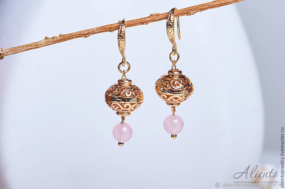 Gold earrings with openwork beads, Earrings, Moscow,  Фото №1