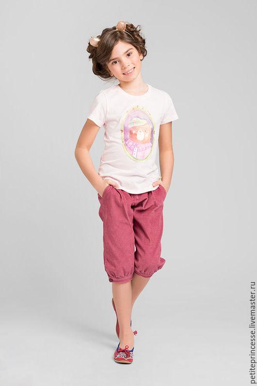 """Одежда для девочек, ручной работы. Ярмарка Мастеров - ручная работа. Купить футболка """"Мишка в шляпке"""". Handmade. Бледно-розовый, мишка"""