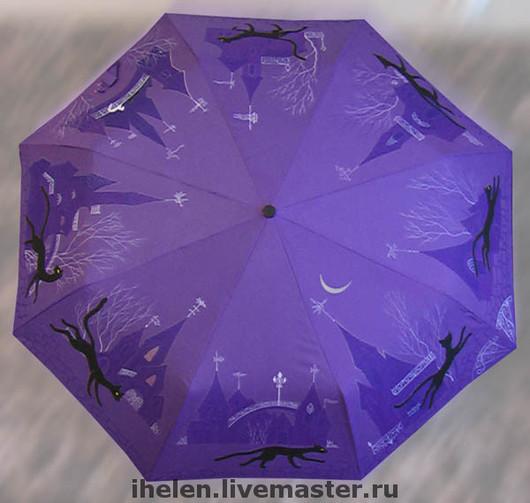 """Зонты ручной работы. Ярмарка Мастеров - ручная работа. Купить Зонт """"Сказка весенней луны"""". Handmade. Зонт, ночь, весна"""